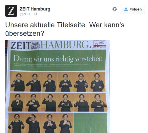 """ZEIT Hamburg """"Damit wir uns richtig verstehen"""""""