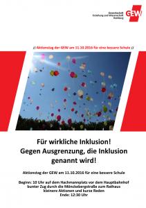"""GEW Aktionstag """"Für wirkliche Inklusion"""" 11.10.2016"""